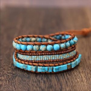 New! Handmade Leather Turquoise Wrap Bracelet